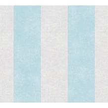 Livingwalls Vliestapete Paradise Garden Tapete mit Blockstreifen grau blau 367183 10,05 m x 0,53 m