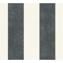 Livingwalls Vliestapete Paradise Garden Tapete mit Blockstreifen weiß schwarz 367181 10,05 m x 0,53 m
