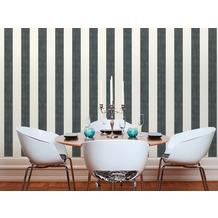 Livingwalls Vliestapete Paradise Garden Tapete mit Blockstreifen weiß schwarz 10,05 m x 0,53 m