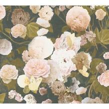 Livingwalls Vliestapete Paradise Garden Tapete mit Rosen floral schwarz rosa grün 367171 10,05 m x 0,53 m