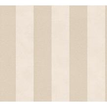 Livingwalls Vliestapete Trendwall Tapete mit Blockstreifen beige creme metallic 372713 10,05 m x 0,53 m