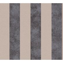 Livingwalls Vliestapete Trendwall Tapete mit Blockstreifen beige metallic schwarz 372714