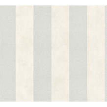 Livingwalls Vliestapete Trendwall Tapete mit Blockstreifen grau metallic weiß 372712 10,05 m x 0,53 m