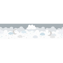 Lovely Kids selbstklebende Kinderzimmer Bordüre Dreamy Sky grau blau weiß 403744 5,00 m x 15,5 cm
