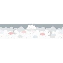 Lovely Kids selbstklebende Kinderzimmer Bordüre Dreamy Sky grau rosa weiß 403743 5,00 m x 15,5 cm