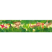Lovely Kids selbstklebende Kinderzimmer Bordüre Jungle Friends grün bunt gelb braun rot 403725 5,00 m x 15,5 cm