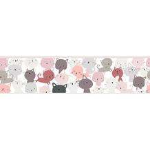 Lovely Kids selbstklebende Kinderzimmer Bordüre Little Cats rosa grau weiß 403741 5,00 m x 15,5 cm