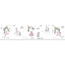 Lovely Kids selbstklebende Kinderzimmer Bordüre Magic Princess rosa grau weiß 403755 5,00 m x 15,5 cm