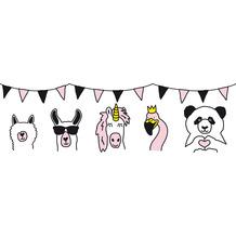 Lovely Kids selbstklebende Kinderzimmer Bordüre Wild Party rosa weiß schwarz 403729 5,00 m x 15,5 cm