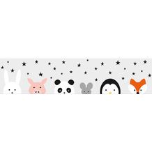 Lovely Kids selbstklebende Kinderzimmer Bordüre Wild Stars grau schwarz weiß rosa orange 403732 5,00 m x 15,5 cm