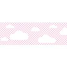 Lovely Label Selbstklebende Bordüre Wolken Rosa kariert