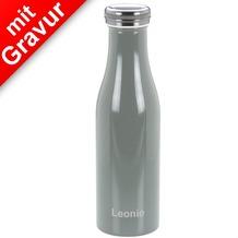 Lurch Isolierflasche MIT GRAVUR (z.B. Namen) 0,5l perlgrau, hält 12 Std. heiß/kalt, 100% dicht, Thermo-Flasche Trinkflasche 500ml Edelstahl