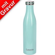 Lurch Isolierflasche MIT GRAVUR (z.B. Namen) 0,75l mint, hält 12 Std. heiß/kalt, 100% dicht, Thermo-Flasche Trinkflasche 750ml Edelstahl