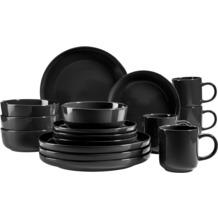 Mäser Alenia Geschirr-Set für 4 Personen in modernem skandinavischem Design 16-teilig schwarz
