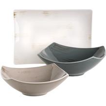 Mäser Derby, 3-teiliges Servier-Set aus 1 Servierplatte und 2 eckigen Schalen, Durable Porzellan