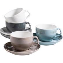 Mäser DERBY Premium Kaffeetassen Set für 4 Personen in Gastronomie-Qualität, Tassen mit Untertassen in modernem Design und bunten Pastellfarben Blau / Beige / Grau / Weiß
