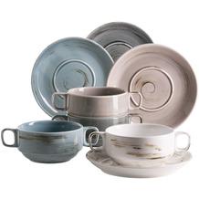 Mäser Derby, Premium Suppentassen Set für 4 Personen in Gastronomie-Qualität, 8-teiliges modernes Service aus Suppenschüsseln und Untertassen in bunten Pastellfarben, Durable Porzellan