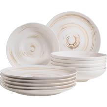 Mäser Derby, Premium Tafelservice in Gastronomie-Qualität, 12-teilig mit Handpinseleffekt, weiß