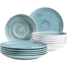 Mäser Derby, Premium Tafelservice in Gastronomie-Qualität, 12-teilig mit Handpinseleffekt, Blau
