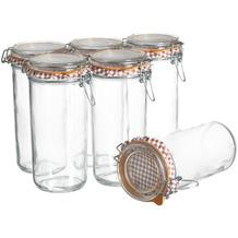 Mäser Ermetico, Einmachglas 1 Liter im 6er-Set, Vorratsgläser mit Deckel und Bügelverschluss, Glas