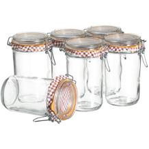 Mäser Ermetico, Einmachglas 750 ml im 6er-Set, Vorratsgläser mit Deckel und Bügelverschluss, Glas
