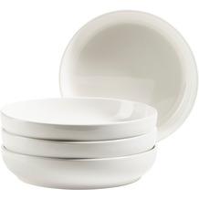Mäser FINARO Teller Set für 4 Personen in Gastronomie-Qualität, skandinavisches Design, Teller-Set 4-teilig Weiß