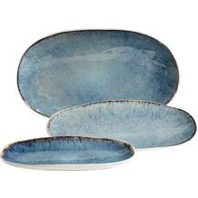 Mäser FROZEN Set aus 3 Servierplatten, Keramik Servierteller in 3 Größen, moderner Vintage Look, Blau gesprenkelte Glasur Blau