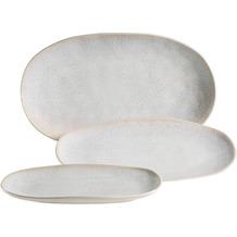 Mäser FROZEN Set aus 3 Servierplatten, Keramik Servierteller in 3 Größen, moderner Vintage Look, Weiß gesprenkelte Glasur Weiß