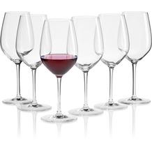 Mäser IL PREMIO Rotweingläser 6er Set, Kristallgläser Wein für Weißwein, Rosé, Weinschorle und Spritzer, mittelgroße Weingläser aus Kristallglas, Weinglas mit Stiel 55 cl Transparent