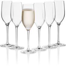Mäser IL PREMIO Sektgläser 6er Set, Prosecco Gläser aus Kristallglas, Kristallgläser für Schampus, Sekt, Champagner und Schaumwein, Sektglas mit Moussierpunkt 17 cl Transparent