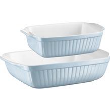 Mäser Kitchen Time, Auflaufformen rechteckig 2er Set, kratz- und schnittfest, Keramik, Blau