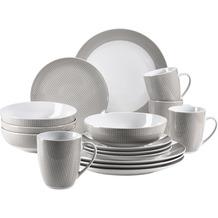 Mäser Kitchen Time II, Geschirr-Set, 16-teilig Kombiservice in Beige mit dezentem Muster, Porzellan