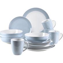 Mäser Kitchen Time II, Geschirr-Set, 16-tlg Kombiservice in Pastellblau mit dezentem Muster, Porzellan