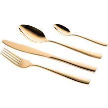 Mäser Lausanne 24-teiliges goldenes Besteck Set, hochglänzend, rostfrei, spülmaschinengeeignet, Chromstahl