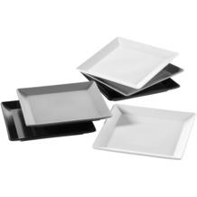 Mäser Manhattan City, Dessertteller-Set 6-teilig, 6 quadratische Teller in Schwarz Grau und Weiß