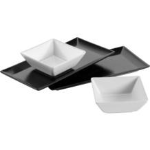 Mäser Manhattan City Schale/Platten Set, 2 rechteckige Teller in Schwarz, 2 quadratische Schüsseln in Weiß