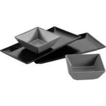 Mäser Manhattan City Schale/Platten Set, 2 rechteckige Teller in Schwarz, 2 quadratische Schüsseln in Grau
