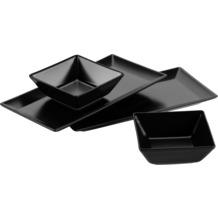 Mäser Manhattan City, Schale / Platten Set, 2 rechteckige Teller und 2 quadratische Schüsseln in Schwarz
