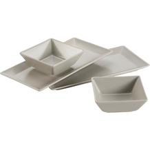 Mäser Manhattan City, Schale / Platten Set, 2 rechteckige Teller und 2 quadratische Schüsseln in Beige
