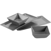 Mäser Manhattan City, Schale / Platten Set, 2 rechteckige Teller und 2 quadratische Schüsseln in Grau