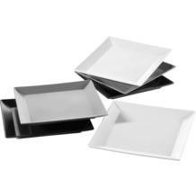 Mäser Manhattan City, Teller-Set 6-teilig, 6 quadratische Teller in Schwarz Grau und Weiß
