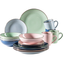 Mäser Metallic Rim Geschirr-Set für 4 Personen mit Silberrand 16-teilig rosa, mint, blau, dunkelblau