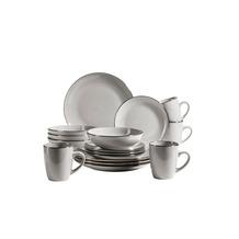 Mäser Metallic Rim Geschirr-Set für 4 Personen mit Silberrand 16-teilig grau