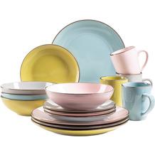 Mäser Metallic Rim Geschirr-Set für 4 Personen mit Silberrand 16-teilig rosa, grün, grau, blau
