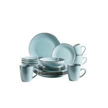 Mäser Metallic Rim Geschirr-Set für 4 Personen mit Silberrand 16-teilig blau