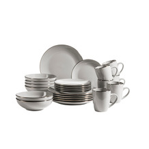 Mäser Metallic Rim Geschirr-Set für 6 Personen mit Silberrand 24-teilig grau