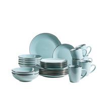Mäser Metallic Rim Geschirr-Set für 6 Personen mit Silberrand 24-teilig blau