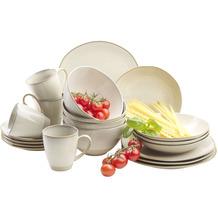 Mäser Nottingham, Vintage Geschirr-Set für 4 Personen, 20-teiliges Kombi-Service, Beige, Steinzeug