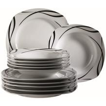 Mäser Oslo Teller-Set, 12-teiliges aus Porzellan, Tafelservice klassisch, zeitlos, elegant, schwarz-weiß
