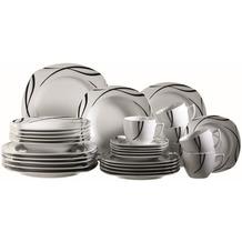 Mäser Oslo Kombiservice, 30-teiliges, Geschirr-Set, klassisch, zeitlos, elegant, Porzellan, schwarz-weiß